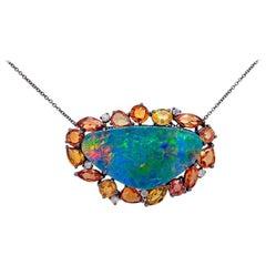 New York Australian Opal, Sapphire and Diamond Necklace