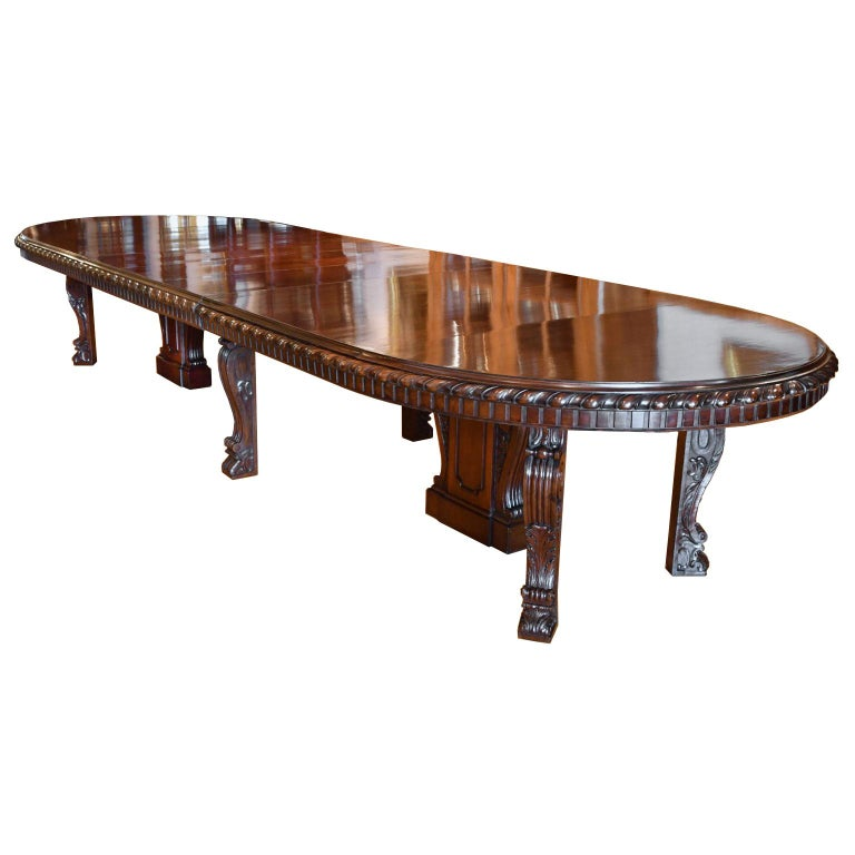20 Ft. Long Belle Époque Extension Dining Table in Mahogany, New York, c. 1890 For Sale