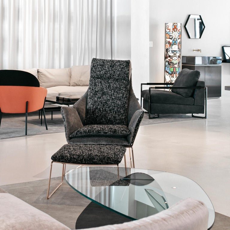 Modern New York Bergere Chair and Pouf, by Sergio Bicego, Made in Italy For Sale