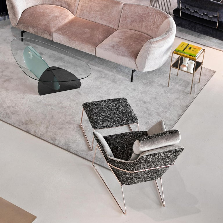 Contemporary New York Bergere Chair and Pouf, by Sergio Bicego, Made in Italy For Sale