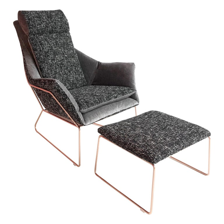 New York Bergere Chair and Pouf, by Sergio Bicego, Made in Italy For Sale