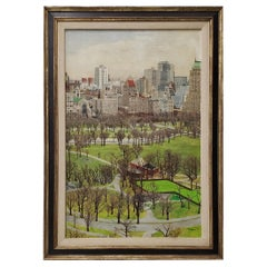 New York City Central Park South Original Oil Painting by Morrison, circa 1970