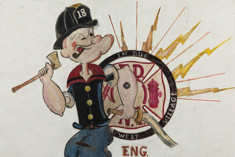 Great Folk Art painting from New York City. FDNY West Village Engine Company #18. Hand painted on masonite. Engine 18 is represented on Popeye's fire helmut and forearm tattoo. Fun piece of New York City FDNY memorabilia.