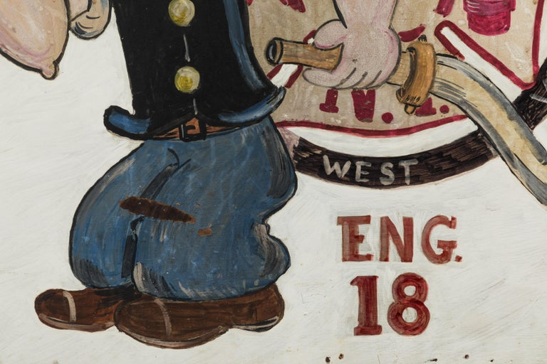 Hand-Painted New York City Fire Station FDNY Hand Painted Popeye American Folk Art For Sale