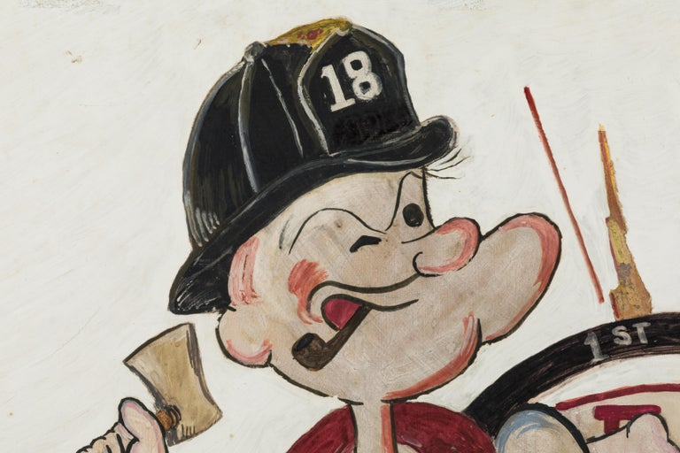 Mid-20th Century New York City Fire Station FDNY Hand Painted Popeye American Folk Art For Sale