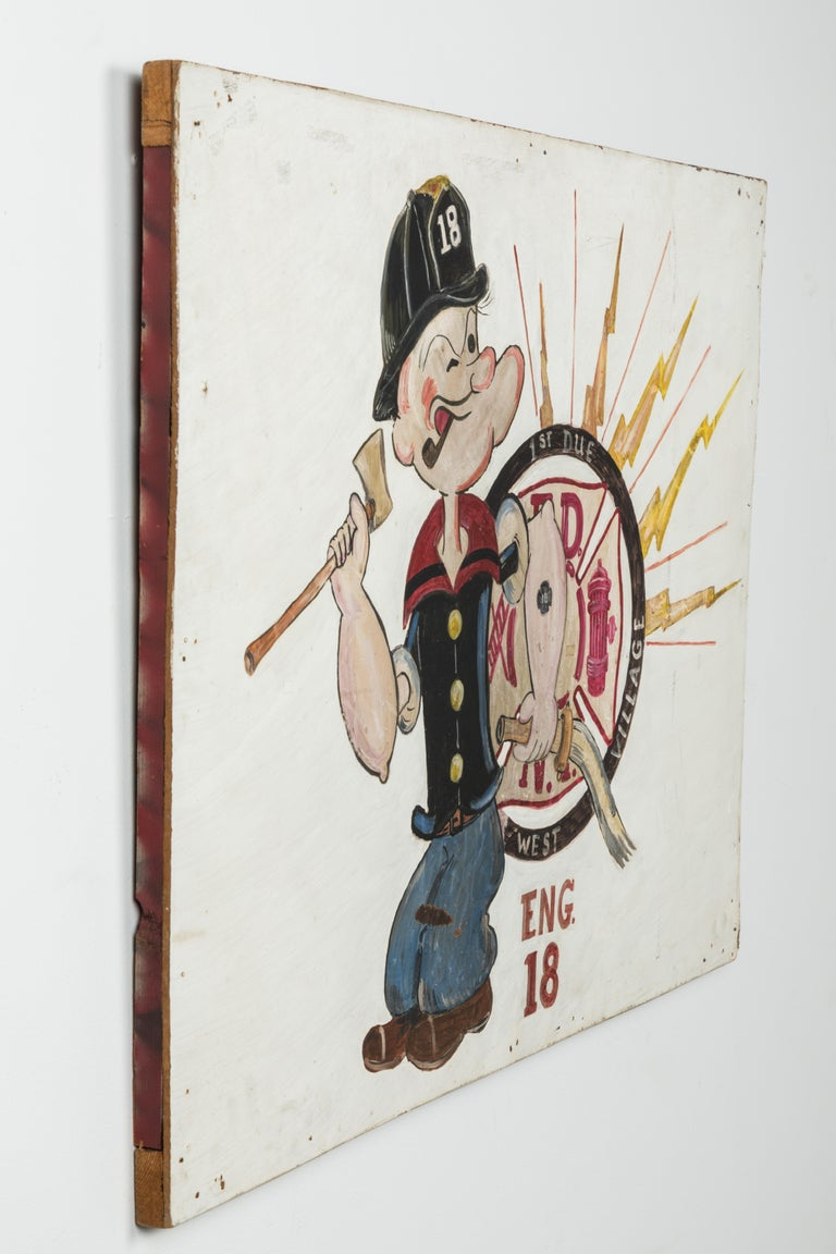 Wood New York City Fire Station FDNY Hand Painted Popeye American Folk Art For Sale