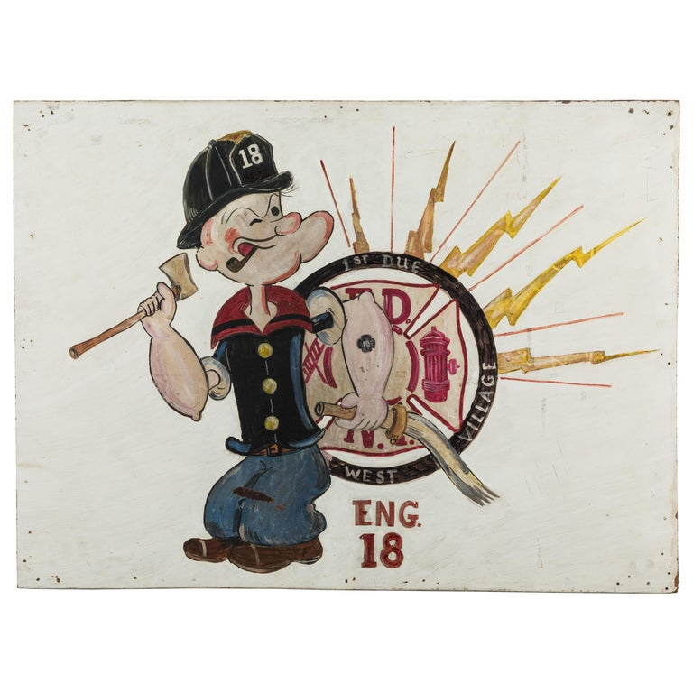 New York City Fire Station FDNY Hand Painted Popeye American Folk Art For Sale