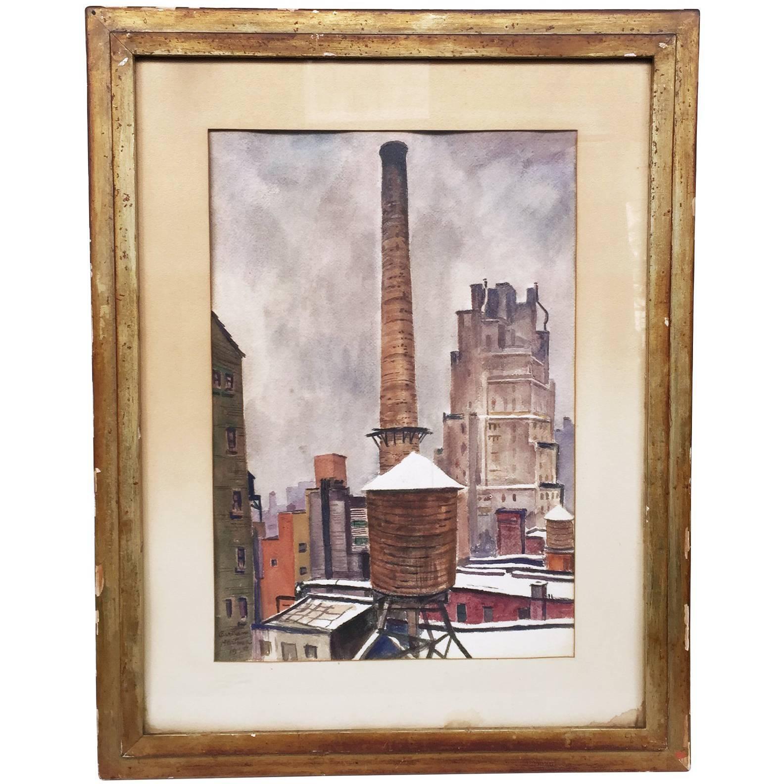 New York Cityscape Watercolor by Bertram Hartman, 1939