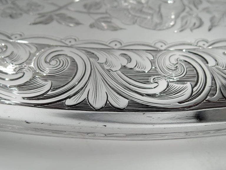 New York Classical Coin Silver Tray by William Forbes for Ball, Black In Excellent Condition For Sale In New York, NY