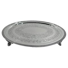 New York Classical Coin Silver Tray by William Forbes for Ball, Black