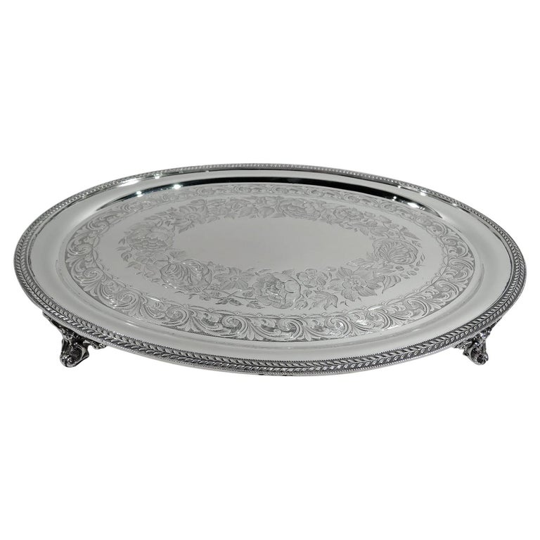 New York Classical Coin Silver Tray by William Forbes for Ball, Black For Sale