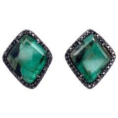 Lucea New York Emerald and Black Diamond Stud Earrings