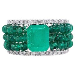 Lucea New York Emerald and Diamond Cocktail Ring