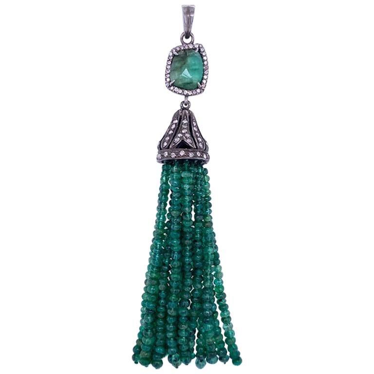 Lucea New York Emerald and Diamond Tassel Pendant