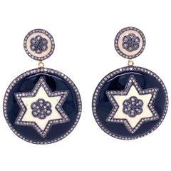 Lucea New York Enamel and Rustic Diamond Star Disc Earrings