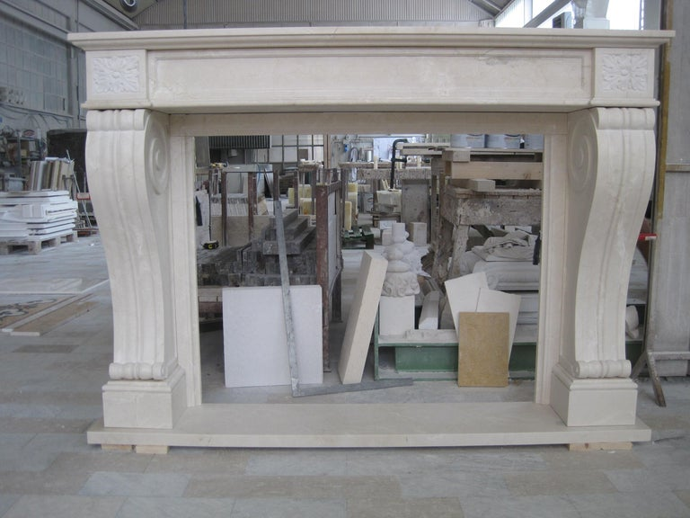 Modern New York Fireplace in Botticino and Crema Marfil Marble by Kreoo For Sale