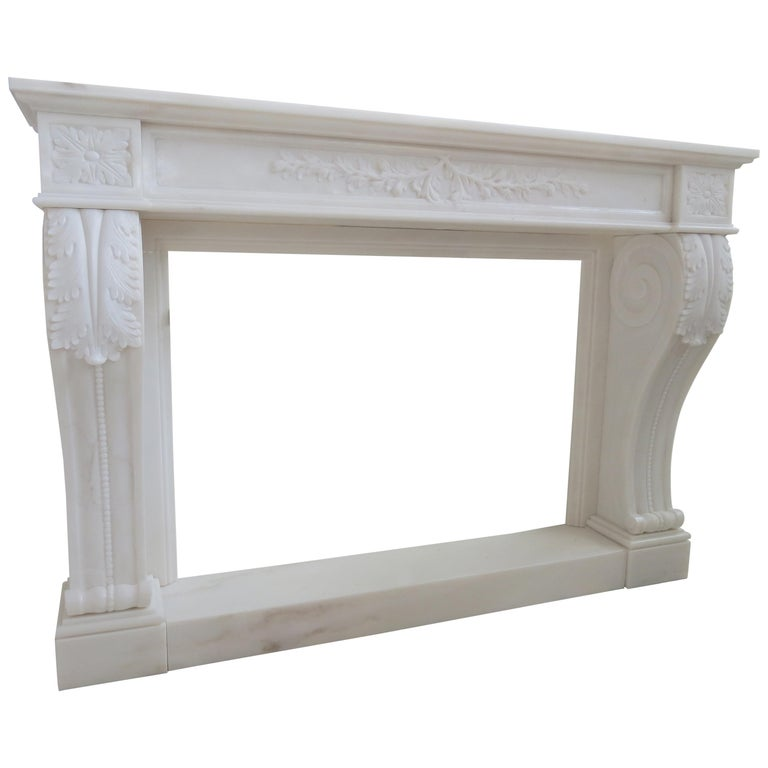 New York Fireplace in Botticino and Crema Marfil Marble by Kreoo For Sale