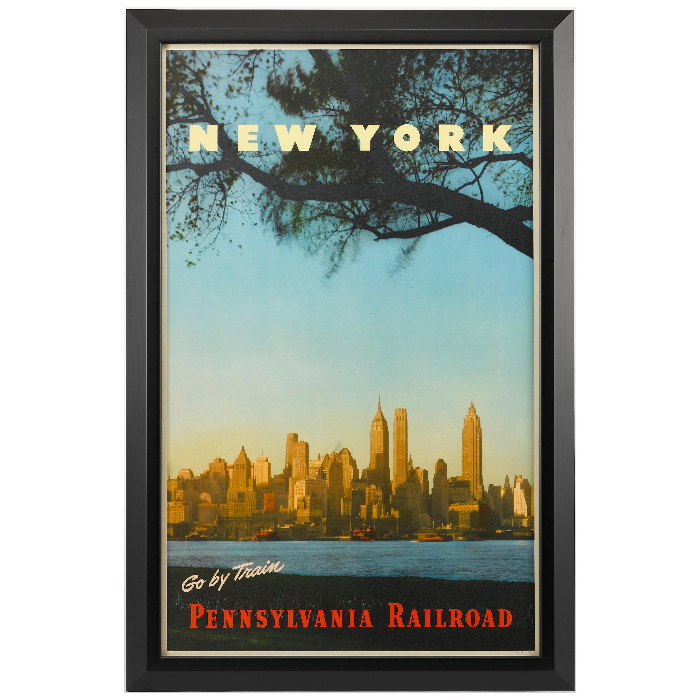 "New York ""Go By Train"" Vintage Travel Poster, Pennsylvania Railroad, 1949"