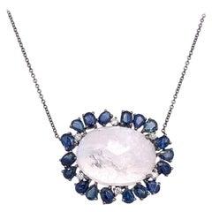 New York Moonstone, Blue Sapphire and Diamond Necklace
