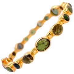 Lucea New York Multi Shape Green Tourmaline Bangle Bracelet