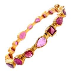 Lucea New York Multi Shape Pink Tourmaline Bangle Bracelet