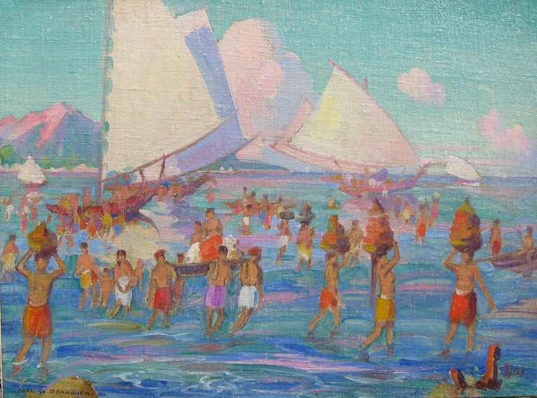 Wonderful oil on board of swimmer's in Bali by Carl Brandien (1886-1965)