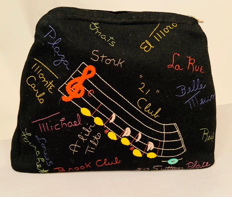 New York City Appliqued Clutch with Night Club and Shopping Theme Embroidery For Sale 3