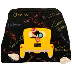 New York City Appliqued Clutch with Night Club and Shopping Theme Embroidery