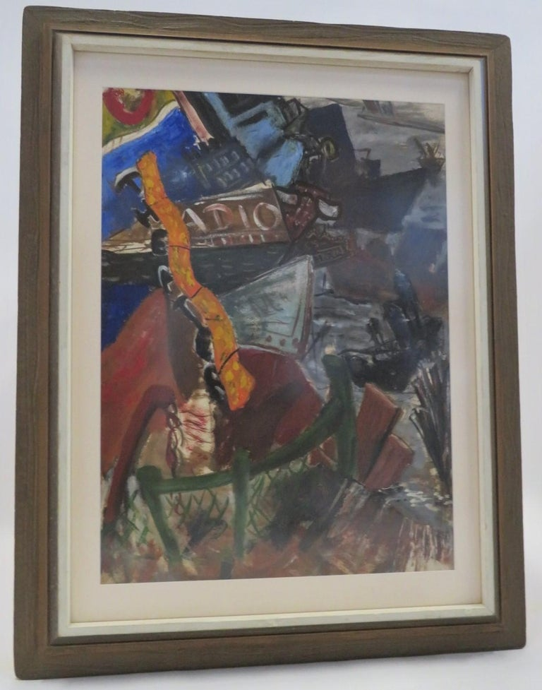 New York Nightlife Post Impressionist Painting Anonymous Artist New York 1950s For Sale 8