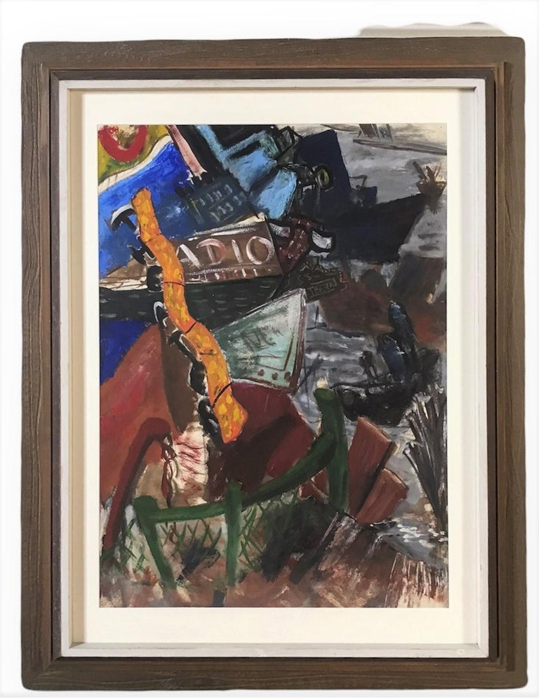 Untitled casein on paper Mid Century Modern Post Impressionist painting by an anonymous New York artist. Depicting telltale signs of an evening in New York City, theater sign, Radio City marquee, delicatessen and diner signs, chain link fence, tug
