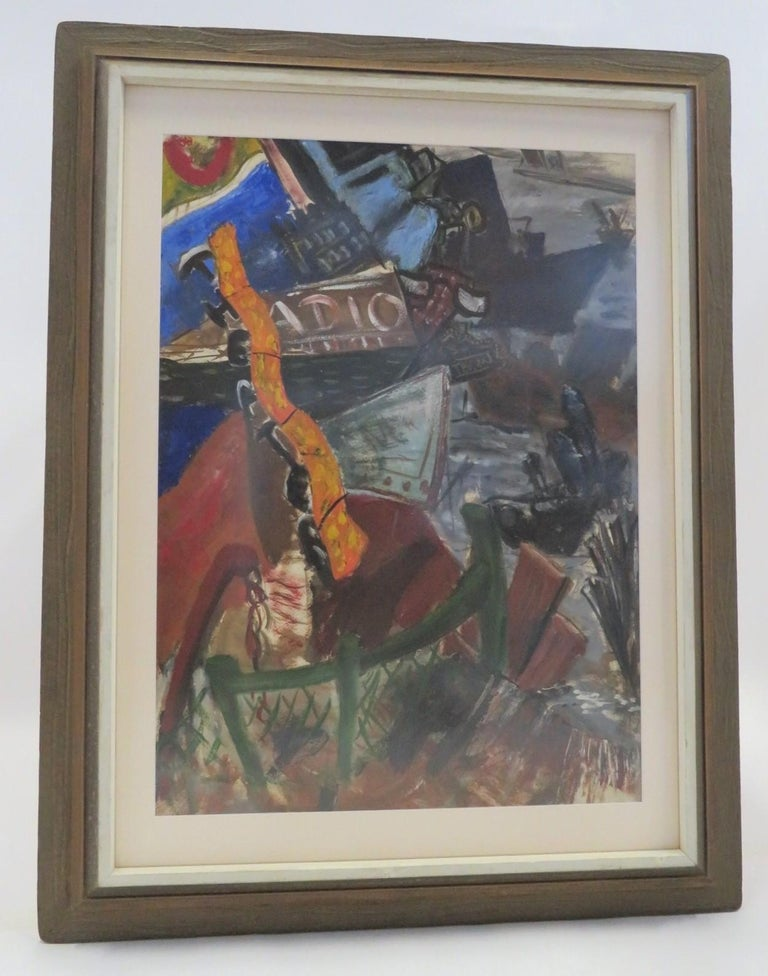 Mid-Century Modern New York Nightlife Post Impressionist Painting Anonymous Artist New York 1950s For Sale