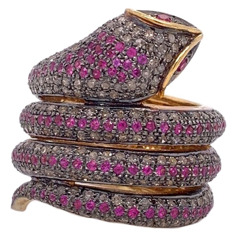 Lucea New York Ruby and Diamond Snake Wrap Ring