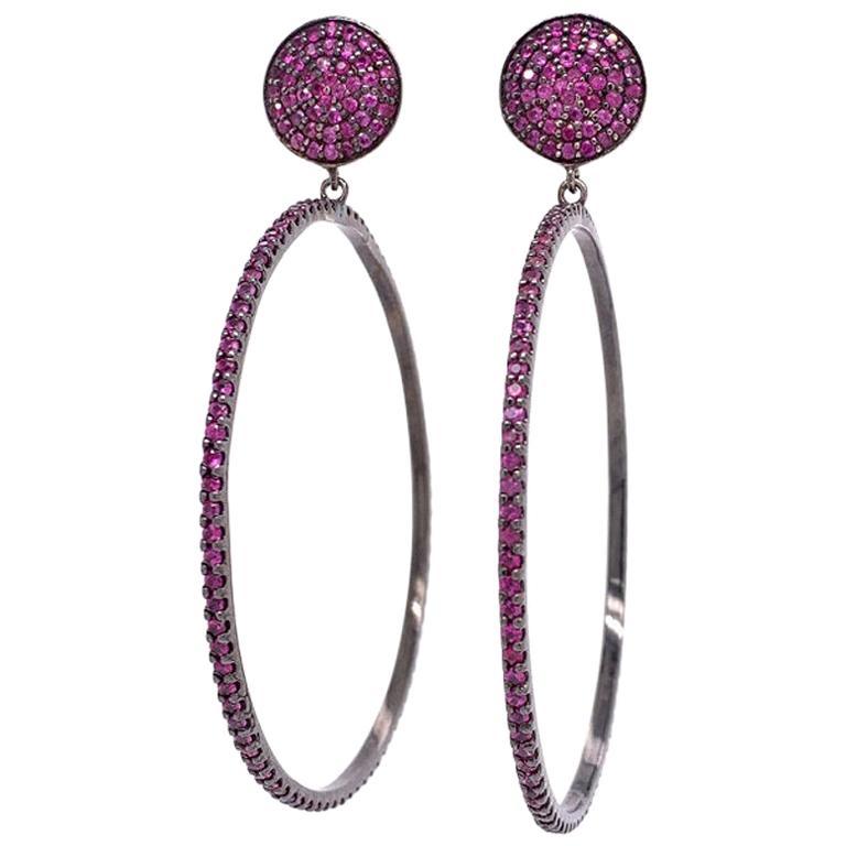 Lucea New York Ruby Hoop Earrings