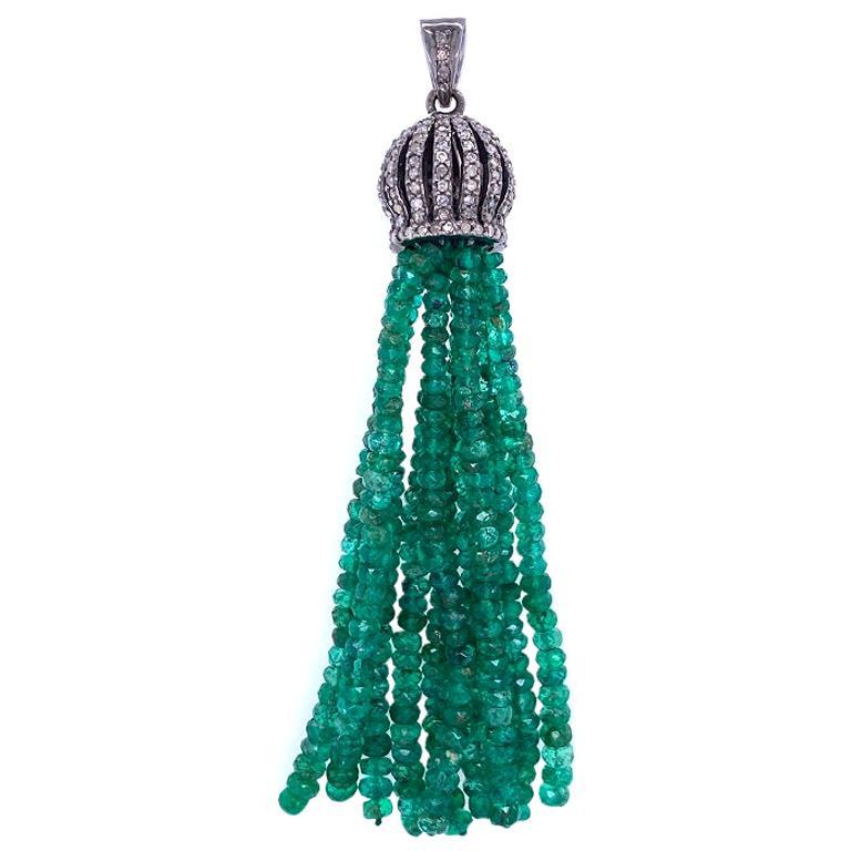 Lucea New York Rustic Diamond and Emerald Bead Tassel Pendant