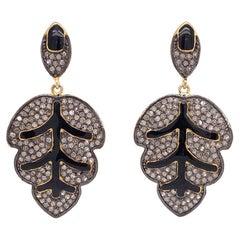 Lucea New York Rustic Diamond and Enamel Leaf Drop Earrings