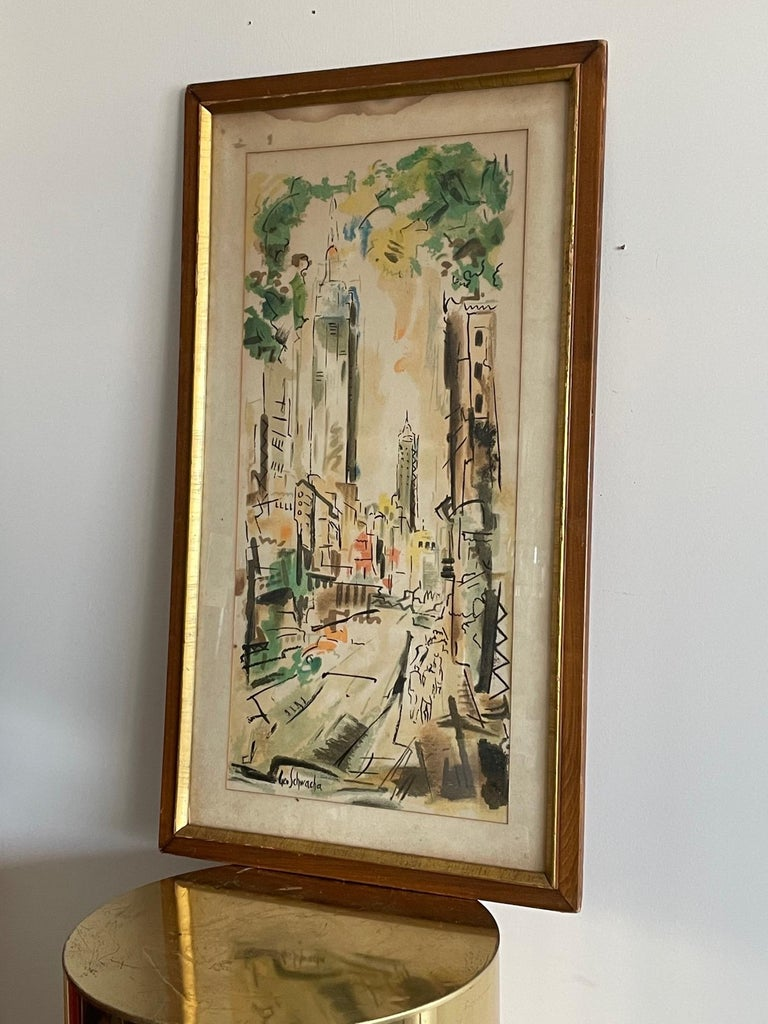 New York Scene by George Schwacha In Good Condition For Sale In St.Petersburg, FL