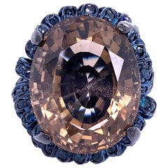 Lucea New York Smokey Quartz and Blue Sapphire Cocktail Ring