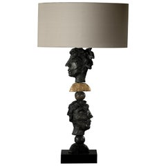 New York, Table Lamp, Bronze-Resin and 24-Karat Gold Leaf
