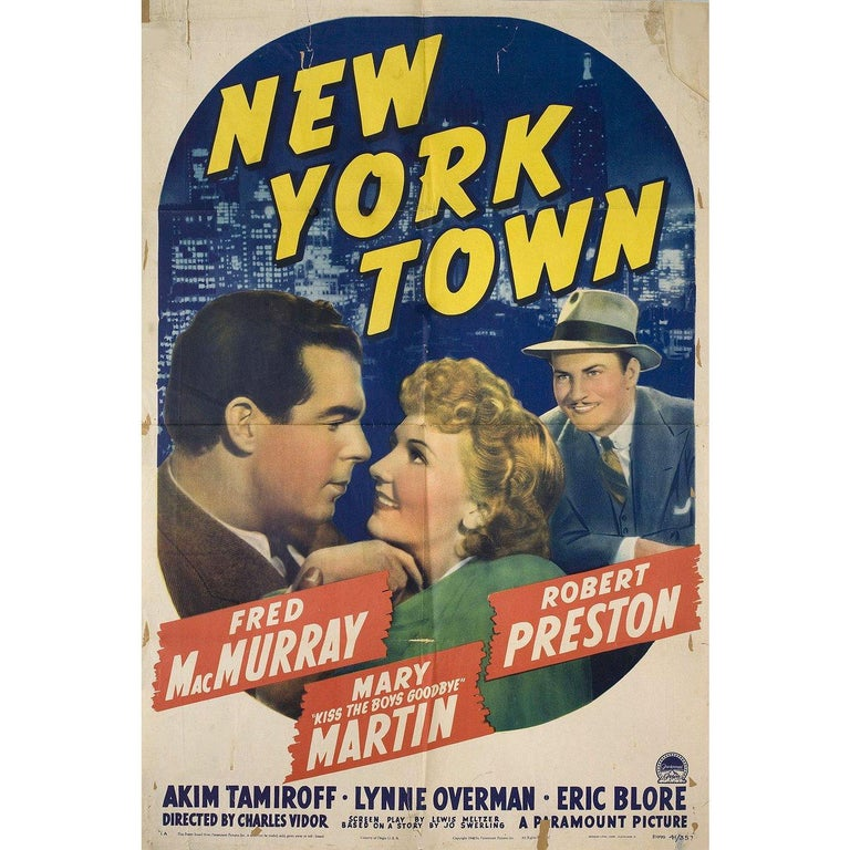 Original 1941 U.S. one sheet poster for the film New York Town directed by Charles Vidor with Fred MacMurray / Mary Martin / Akim Tamiroff / Robert Preston. Fair-good condition, folded with lots of tape on back. Many original posters were issued