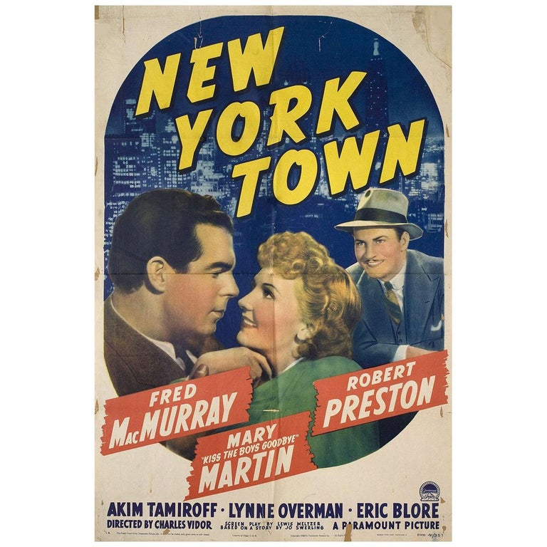 New York Town 1941 U.S. One Sheet Film Poster For Sale