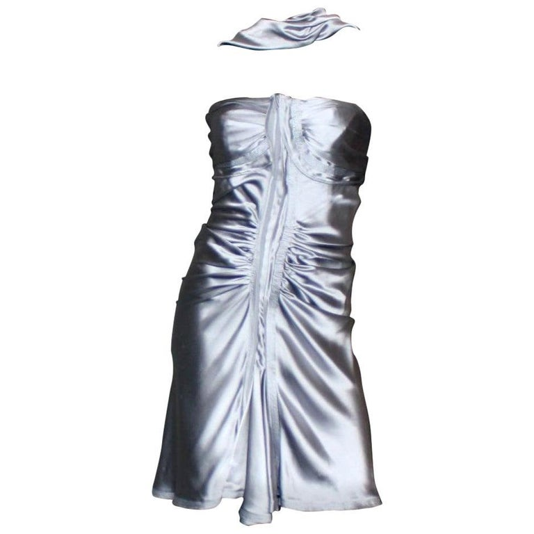 NEW Yves Saint Laurent by Tom Ford 2003 Silver Grey Silk Evening Cocktail Dress  For Sale
