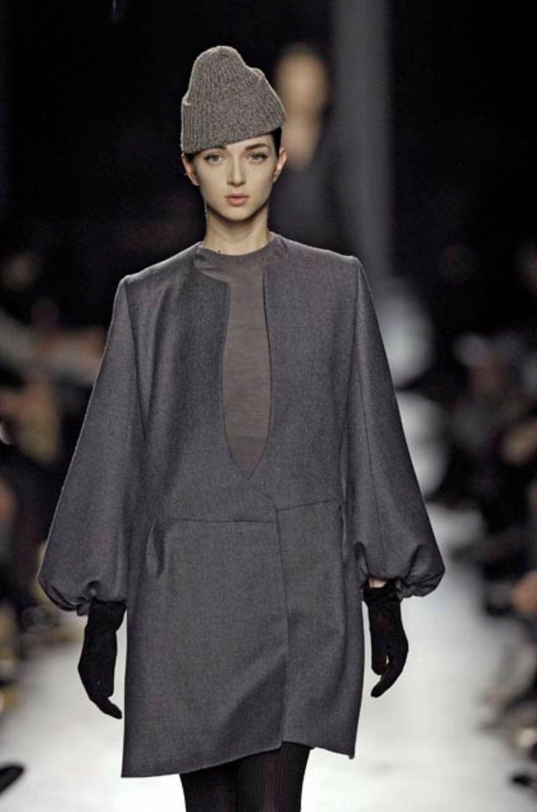 Black New Yves Saint Laurent  F/W 2007 Runway Wool Cashmere Coat Dress Sz 36 For Sale