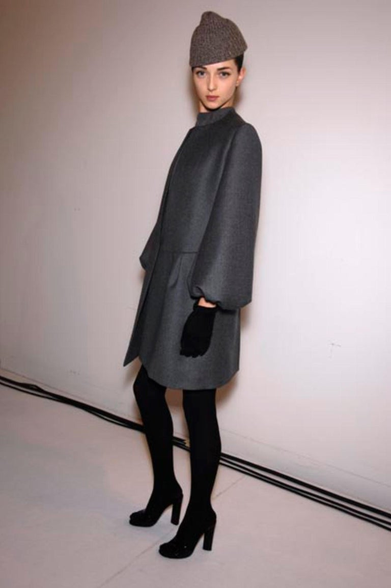 New Yves Saint Laurent  F/W 2007 Runway Wool Cashmere Coat Dress Sz 36 In New Condition For Sale In Leesburg, VA