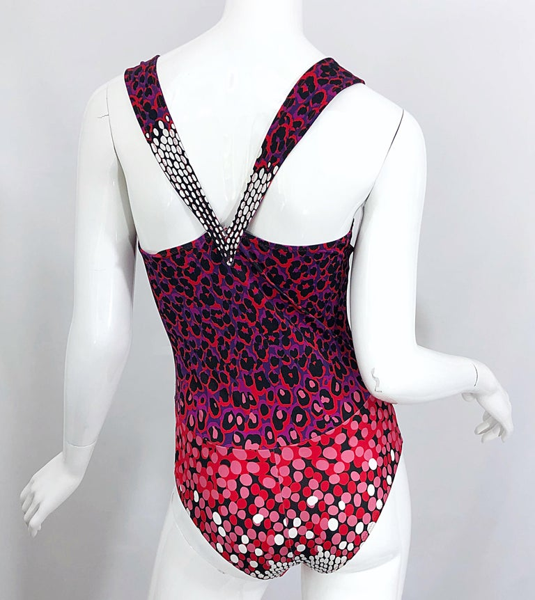 Pink New Yves Saint Laurent Leopard Polka Dot Purple Red One Piece Swimsuit Bodysuit For Sale
