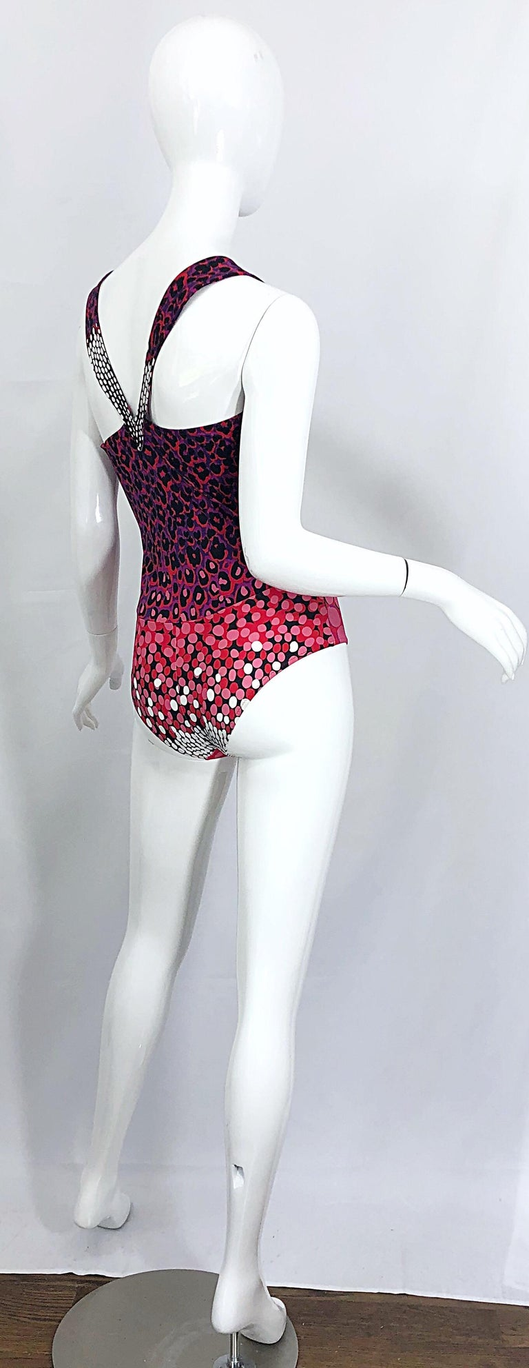 New Yves Saint Laurent Leopard Polka Dot Purple Red One Piece Swimsuit Bodysuit For Sale 1