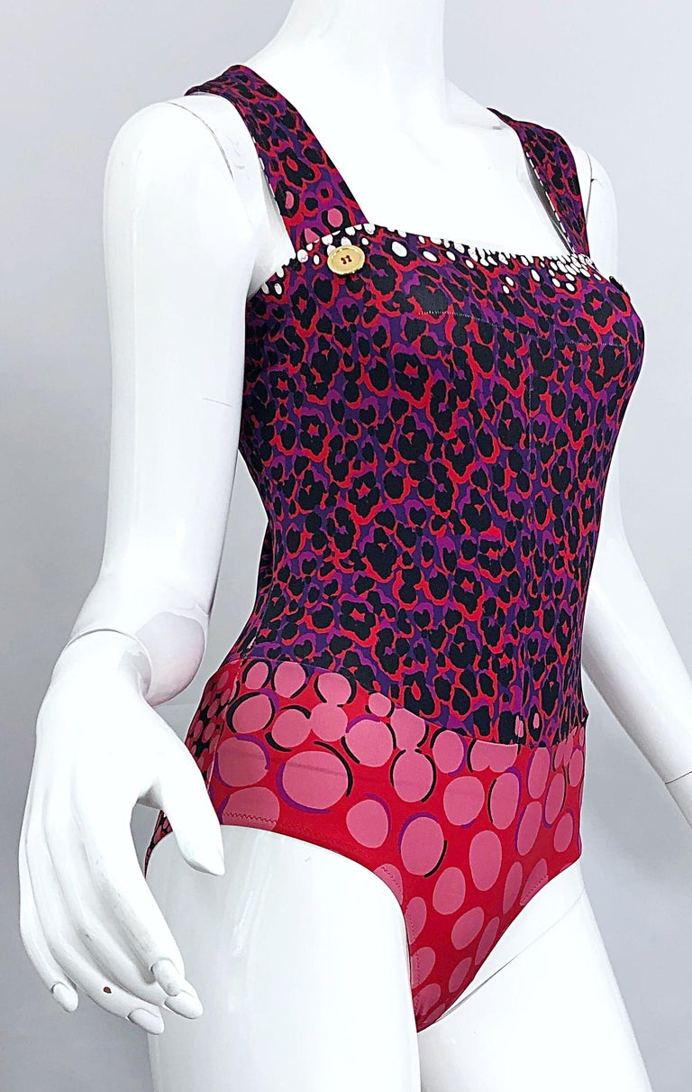 New Yves Saint Laurent Leopard Polka Dot Purple Red One Piece Swimsuit Bodysuit For Sale 2