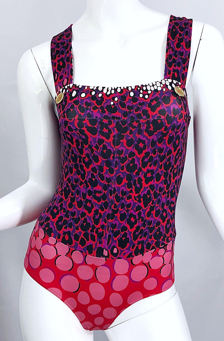 New Yves Saint Laurent Leopard Polka Dot Purple Red One Piece Swimsuit Bodysuit For Sale 3