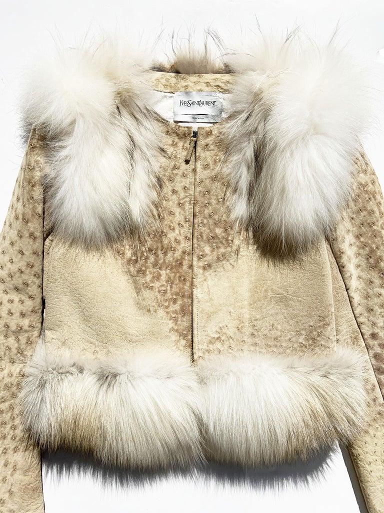 Beige New Yves Saint Laurent Ostrich Shearling Fox Rabbit Fur Jacket It 40 - US 4 For Sale