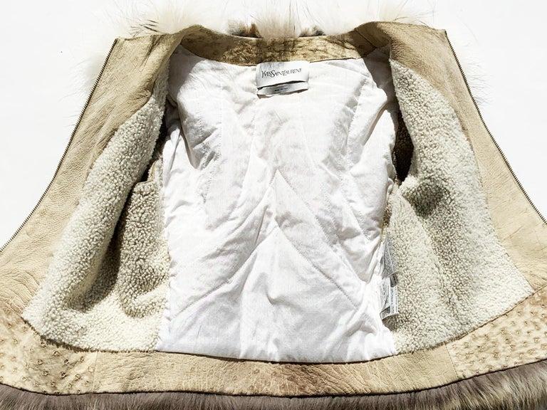 Women's New Yves Saint Laurent Ostrich Shearling Fox Rabbit Fur Jacket It 40 - US 4 For Sale