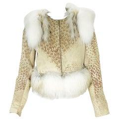 New Yves Saint Laurent Ostrich Shearling Fox Rabbit Fur Jacket It 40 - US 4